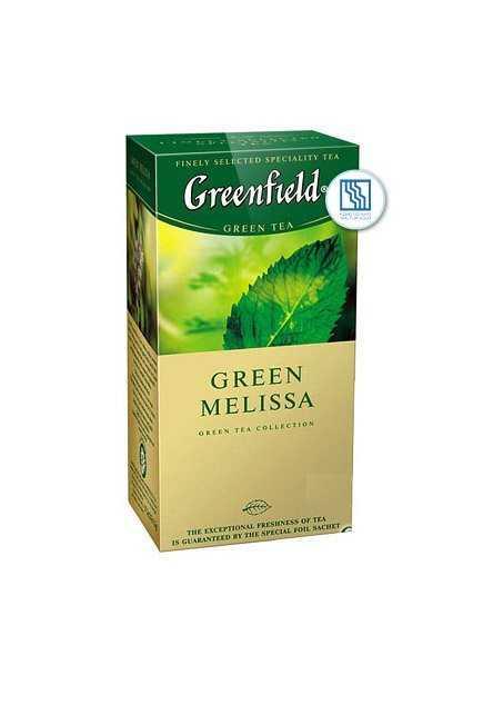 Чай Гринфилд зеленый Green Melissa 25*1,5г с ароматом мяты, мелиссы и лимона
