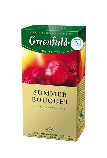 Чай Гринфилд черный Summer Bouquet 25*2г травяной с ароматом малины